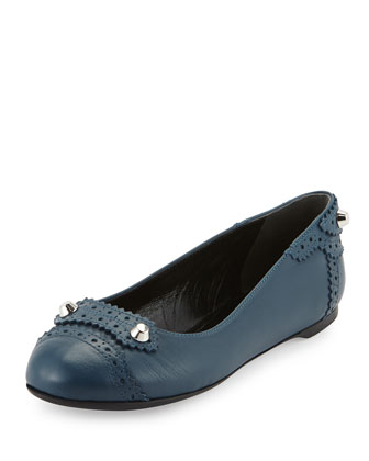 Arena Brogue Studded Ballerina Flat, Blue