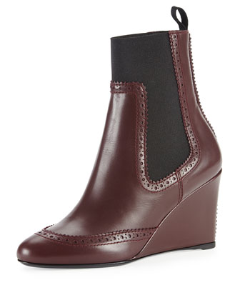 Brogue-Trim Wedge Chelsea Ankle Boot, Prune