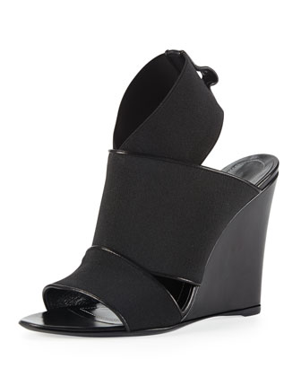 Elastic Wedge Sandal, Black