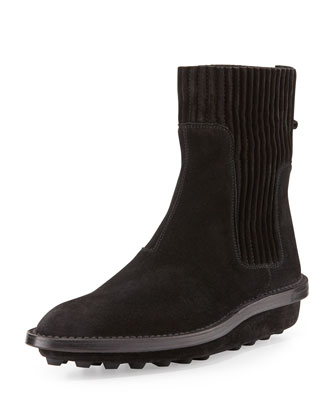 Suede Tread-Sole Ankle Boot, Black