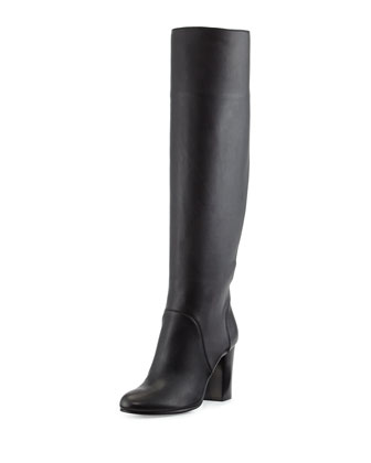Leather Pull-On Knee Boot, Black