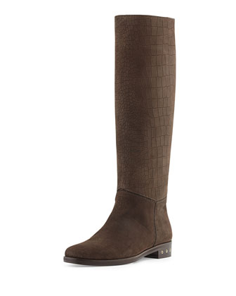 Screw-Heel Croc-Embossed Knee Boot, Dark Brown
