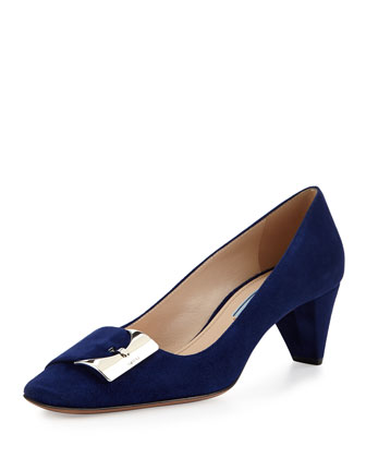 Low-Heel Suede Buckle Pump, Navy