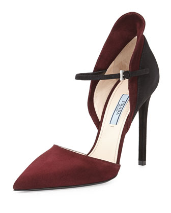 Bicolor Suede d'Orsay Pump, Red