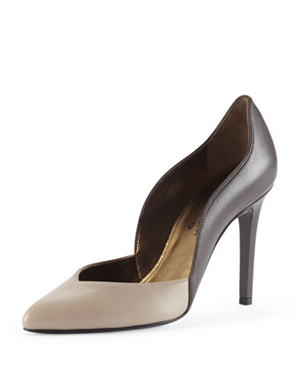 Bicolor Wavy Leather Pump, Gray