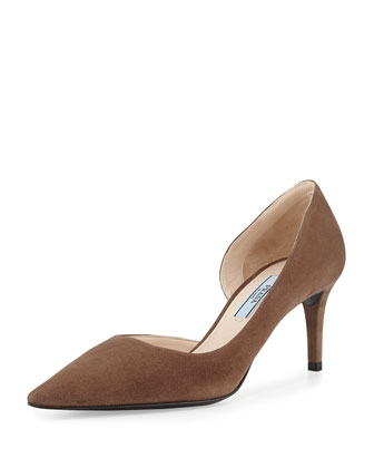 Suede Half d'Orsay Pump, Brown