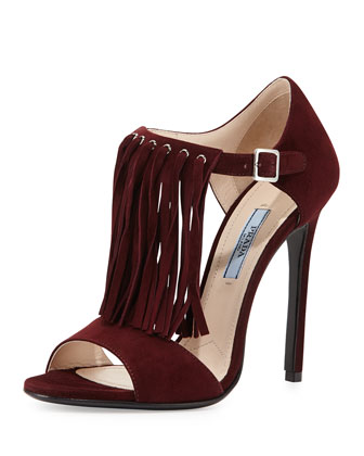Suede Fringe Sandal, Dark Red