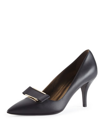 Leather Point-Toe Buckle Pump, Black