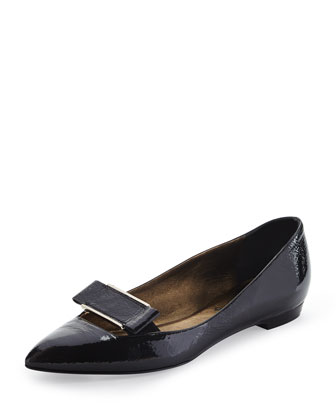 Point-Toe Buckle Ballerina Flat, Black