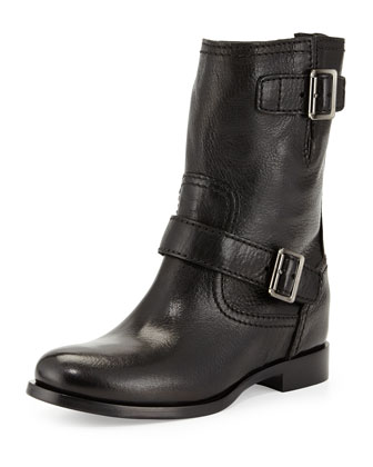 Flat Double-Buckle Moto Boot, Black