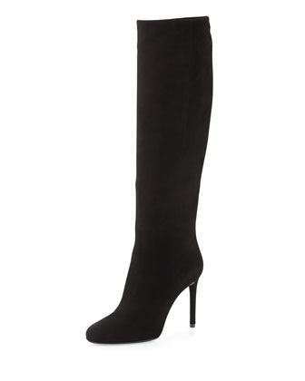 High-Heel Suede Knee Boot, Black