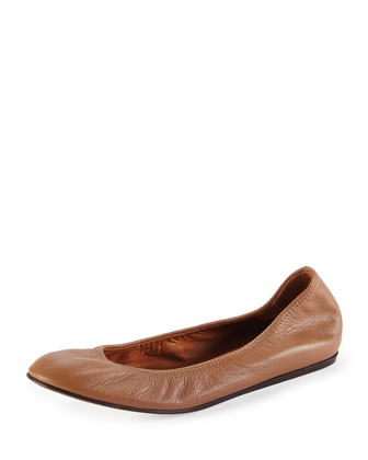 Scrunched Leather Ballerina Flat, Nude