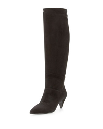 Suede Low-Heel Knee Boot, Black