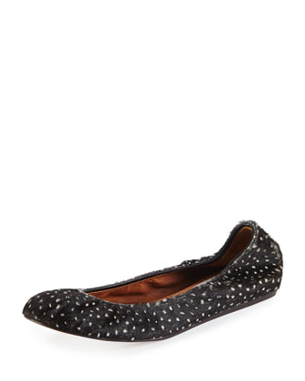 Spotted Calf Hair Scrunched Ballerina Flat