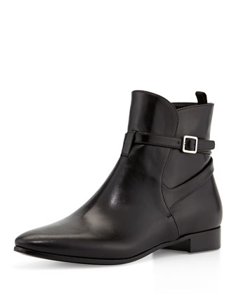 Leather Boot with Ankle Strap, Black (Nero)