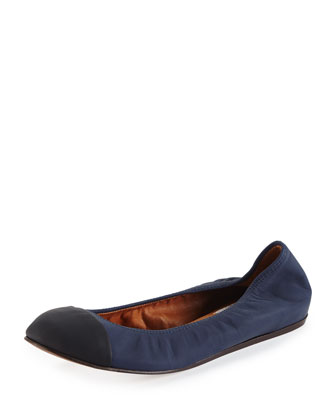 Cap-Toe Lambskin Ballerina Flat, Midnight Blue