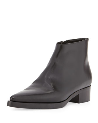 Faux-Leather Point-Toe Ankle Bootie, Black