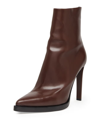 Faux-Leather Point-Toe Ankle Boot, Brown