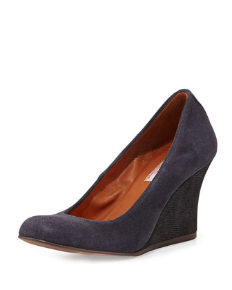 Suede Ballerina Wedge Pump, Midnight Blue
