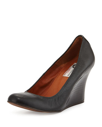 Leather Ballerina Wedge Pump, Black