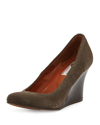 Croc-Embossed Ballerina Wedge Pump, Gray