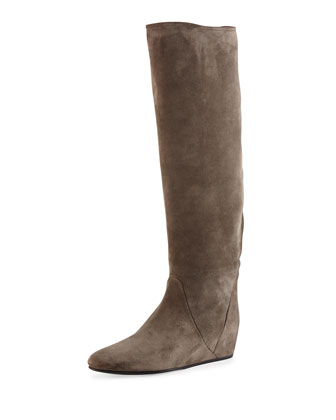 Suede Hidden Wedge Knee Boot, Gray