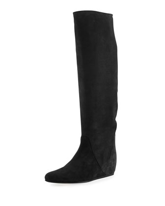 Suede Hidden Wedge Knee Boot, Black