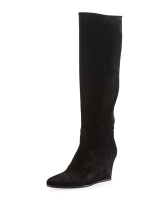 Suede Wedge Knee Boot, Black