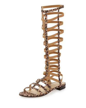 Gladiator Tall Suede Sandal, Tan Leopard (Made to Order)