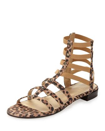 Caesar Suede Gladiator Sandal, Tan Leopard