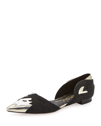 Lilith Unicorn d'Orsay Flat, Black/Gold