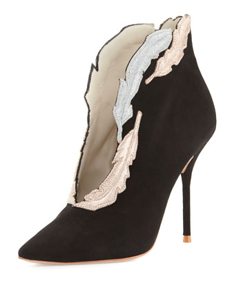 Tia Embroidered Suede Bootie
