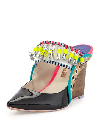 Samia Tribal Calf Hair/Patent Wedge Mule, Black Leopard