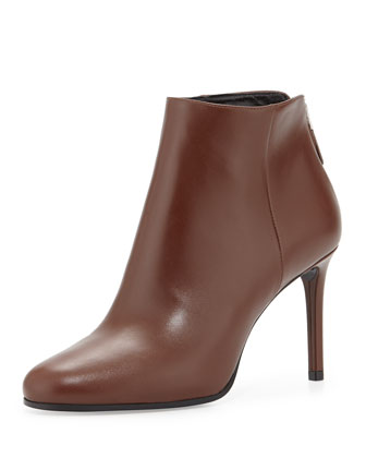 Leather Ankle Bootie, Brown