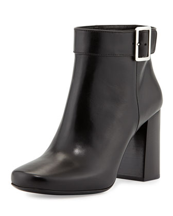 Vitello Chunky Heel Bootie, Black (Nero)
