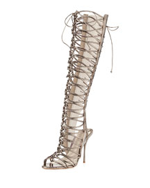Clementine Strappy To-the-Knee Gladiator Sandal Boot, Gunmetal