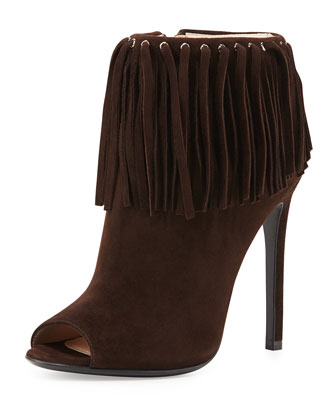 Suede Peep-Toe Fringe Bootie, Dark Brown