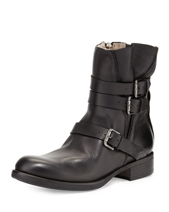 Triumvirate Leather Ankle Boot, Black