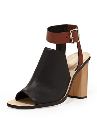 Maisy Colorblock Leather Sandal, Black/Saddle
