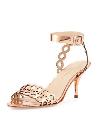 Opal Metallic Leather Sandal, Copper