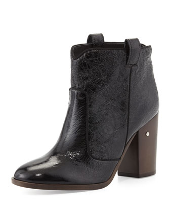 Pete Crumpled Patent Ankle Boot