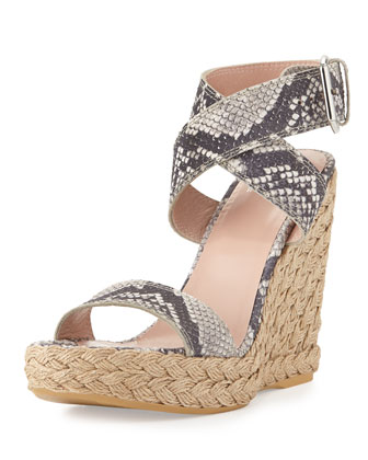 Xray Snake-Print Jute Wedge, Natural (Made to Order)
