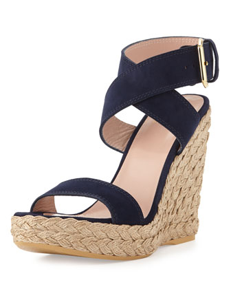 Xray Suede Jute Wedge, Nice Blue