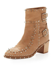 Badely Double-Buckle Boot, Beige/Silver