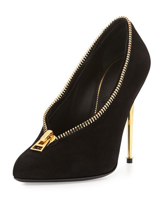 Zipper Suede Metal-Heel Pump
