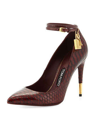 Padlock Ankle-Wrap Python Pump, Bordeaux