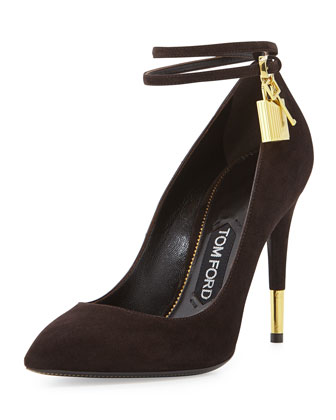 Suede Ankle-Lock Pump, Chocolate
