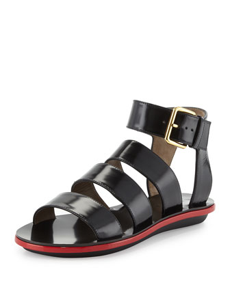Triple Strap Leather Sandal, Coal