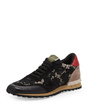 Rockstud Camo-Lace Sneaker, Black
