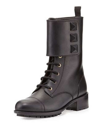 Rockstud Big-Stud Combat Boot, Black